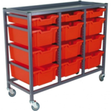 Eclipse® Steel Gratnells Tray Trolley - 3 Bay - ESTTC3