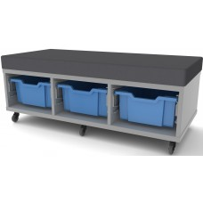 Eclipse Melamine Gratnells Tray Trolley - 3 Bay Mobile with Bench Padded Seat - EMTTC3B