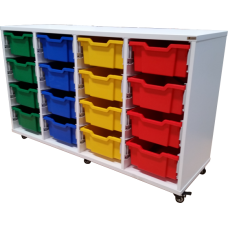 Eclipse Melamine Gratnells Tray Trolley - 4 Bay - EMTTC4C