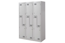 Ausfile Locker 2 Door Step - 375mm wide Bank of 3 - AL2DS375BK3