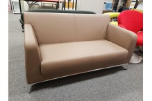 Brown Vinyl 2 Seater Lounge / Couch - CLR061