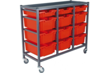 Eclipse® Tray Storage - Low 3 Bay Mobile Trolley - 3 Small / 9 large Trays - ETS3BLM